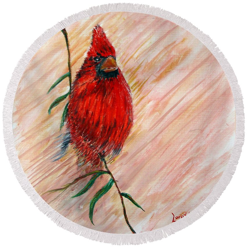 Cardinal Round Beach Towel featuring the painting Commander by Loretta Luglio