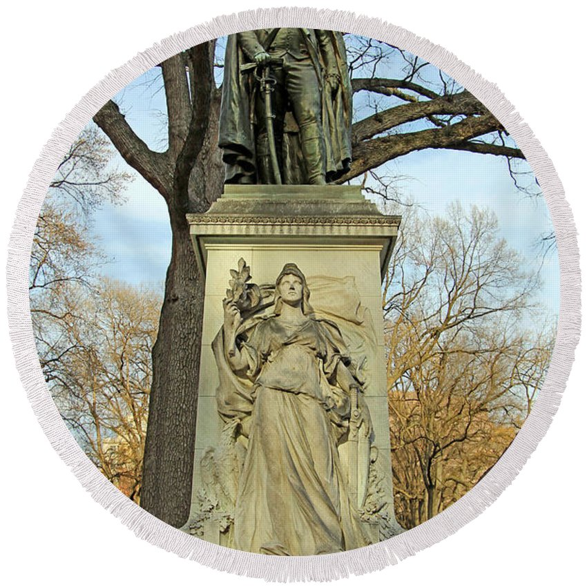 John Round Beach Towel featuring the photograph Commodore John Barry Monument by Cora Wandel