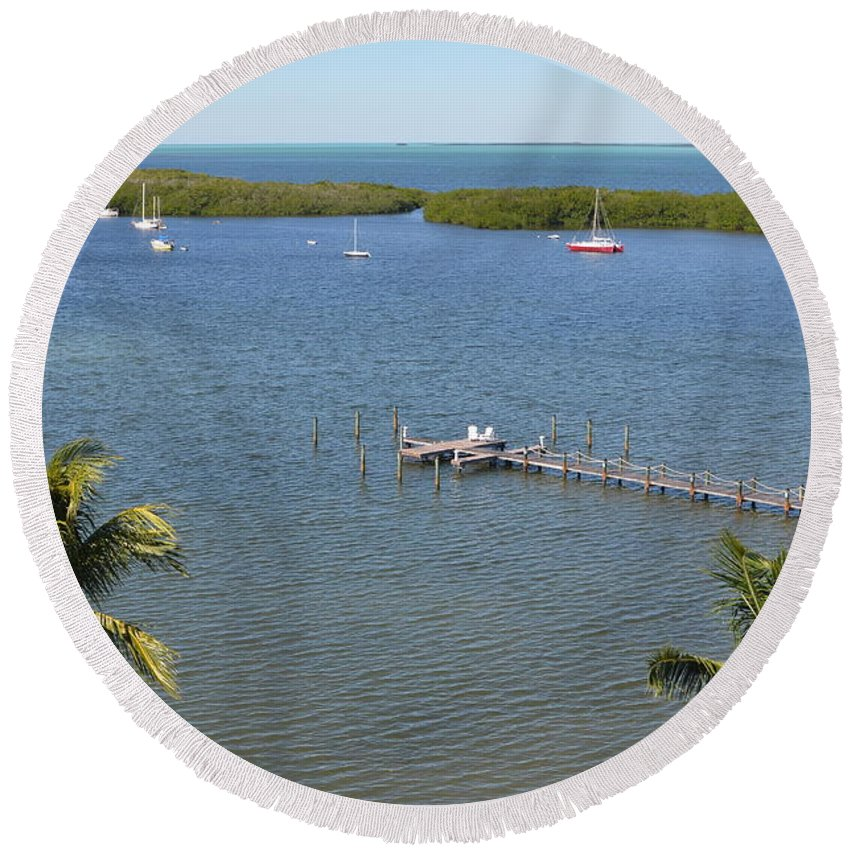 Tavernier Round Beach Towel featuring the photograph Community Harbor by Tammy Mutka