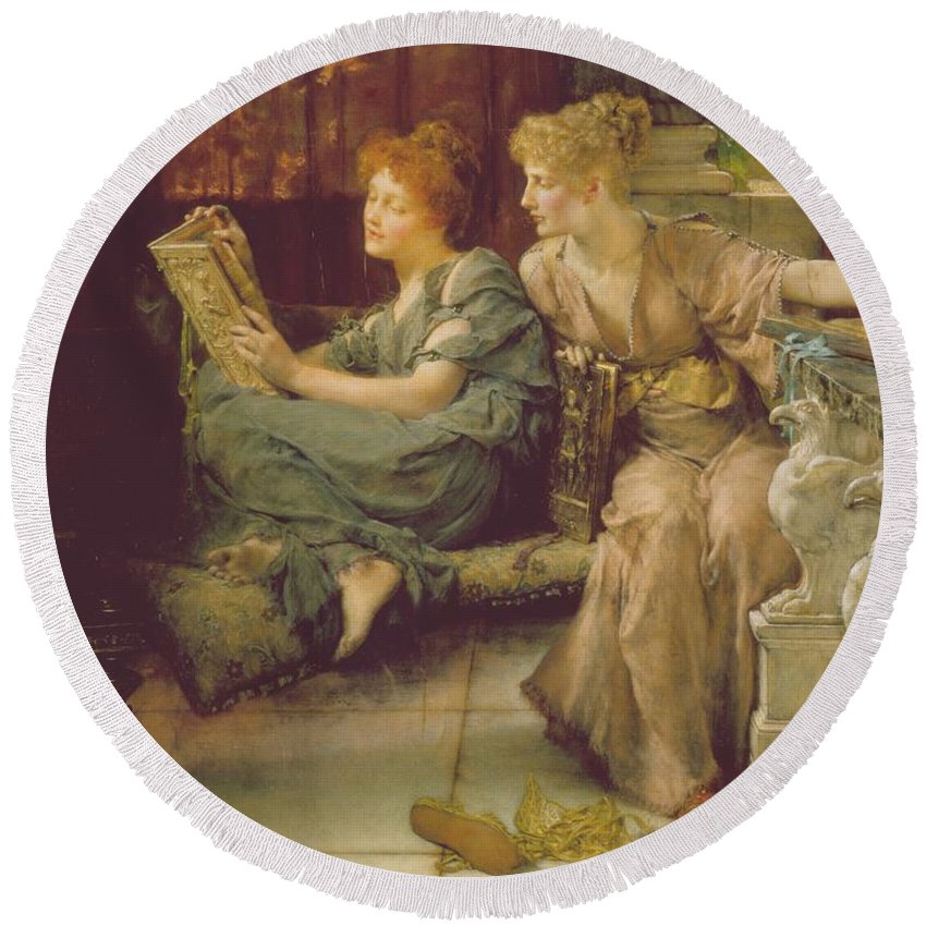 Female Round Beach Towel featuring the painting Comparison by Sir Lawrence Alma-Tadema