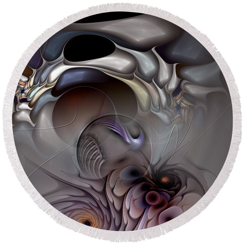 Abstract Round Beach Towel featuring the digital art Compartmentalized Delusion by Casey Kotas
