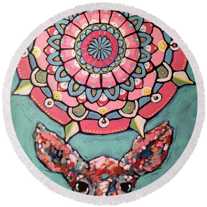 Compassion Round Beach Towel featuring the painting Compassion Orb by Cindy Carter