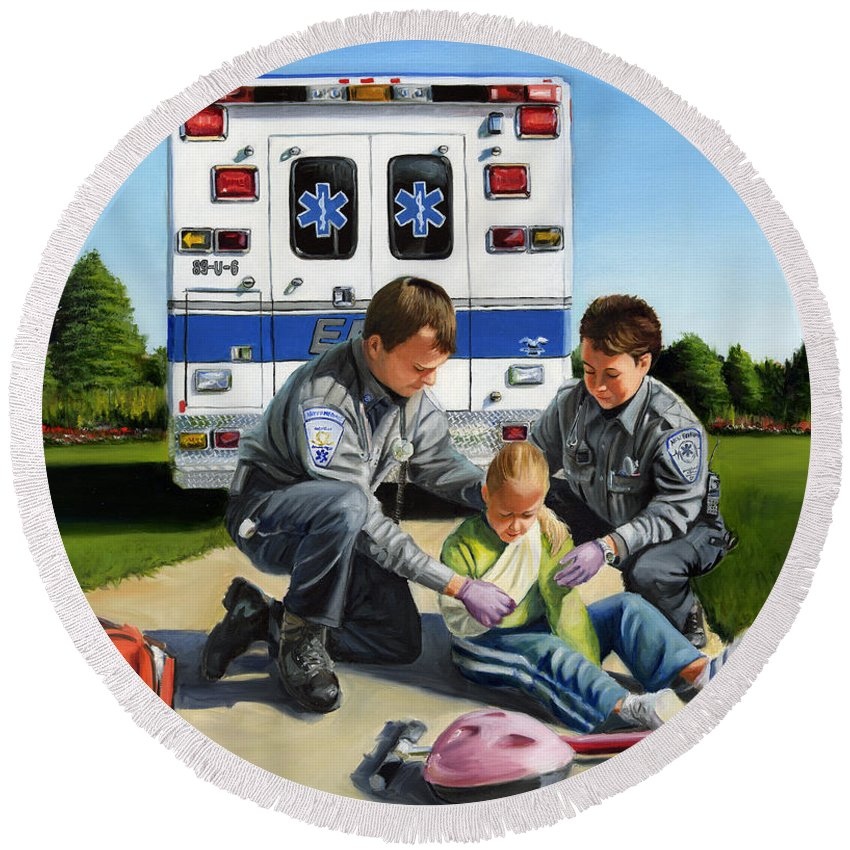 Ems Round Beach Towel featuring the painting Compassion by Paul Walsh