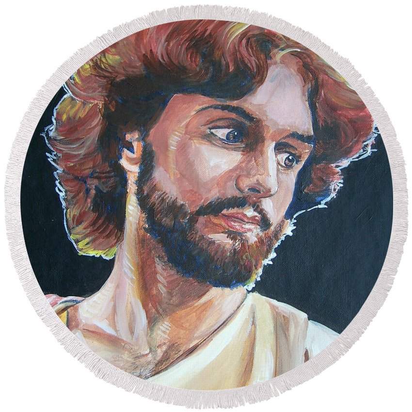 Jesus Christ Round Beach Towel featuring the painting Compassionate Christ by Bryan Bustard