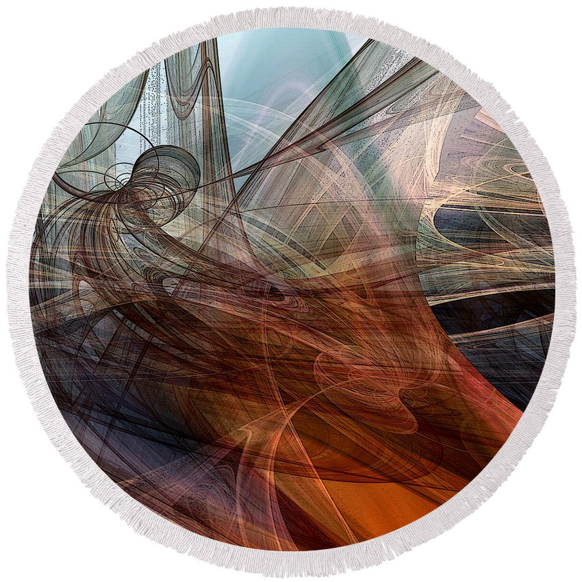 Abstract Round Beach Towel featuring the digital art Complex Decisions by Ruth Palmer