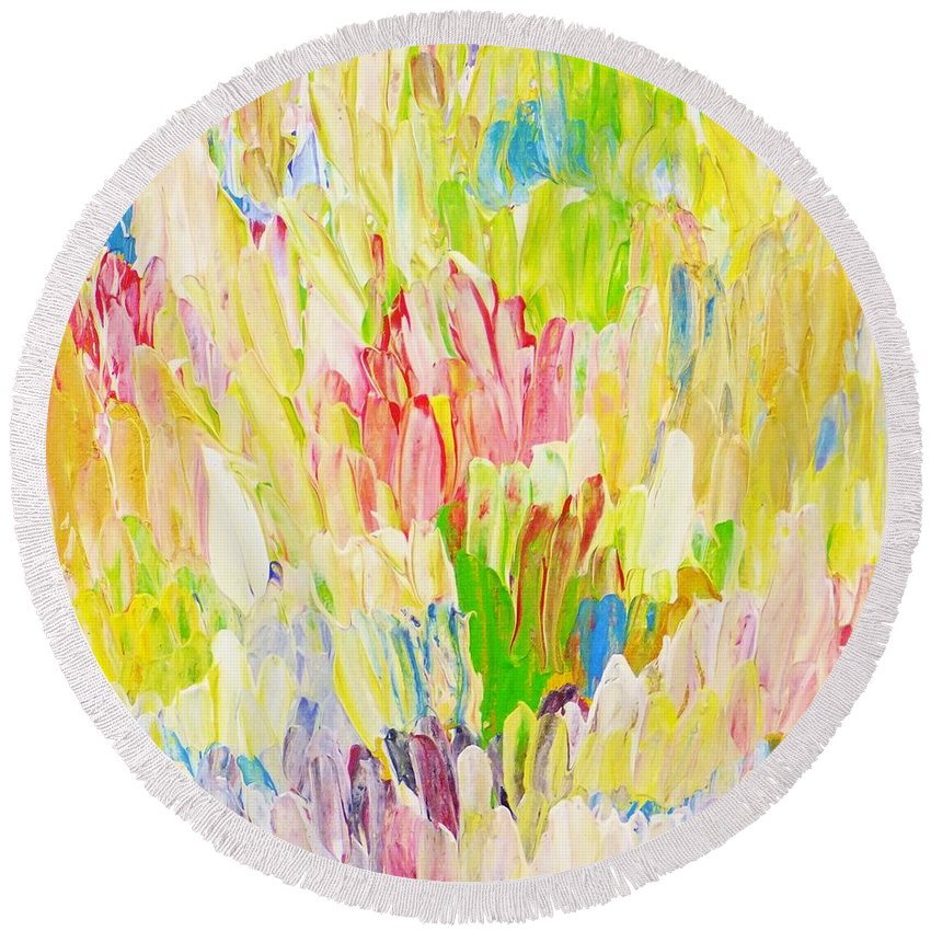 Flowers Round Beach Towel featuring the painting Composition Spring by Christina Reiter