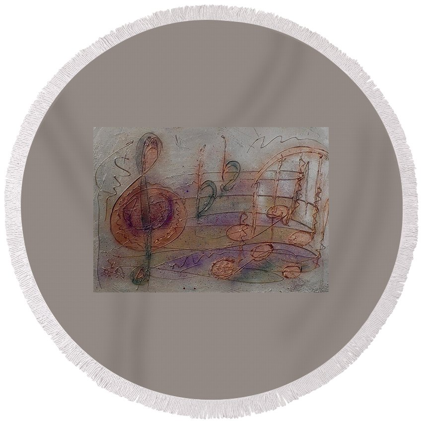 Impressionist Round Beach Towel featuring the painting Composition In B Flat by Anita Burgermeister