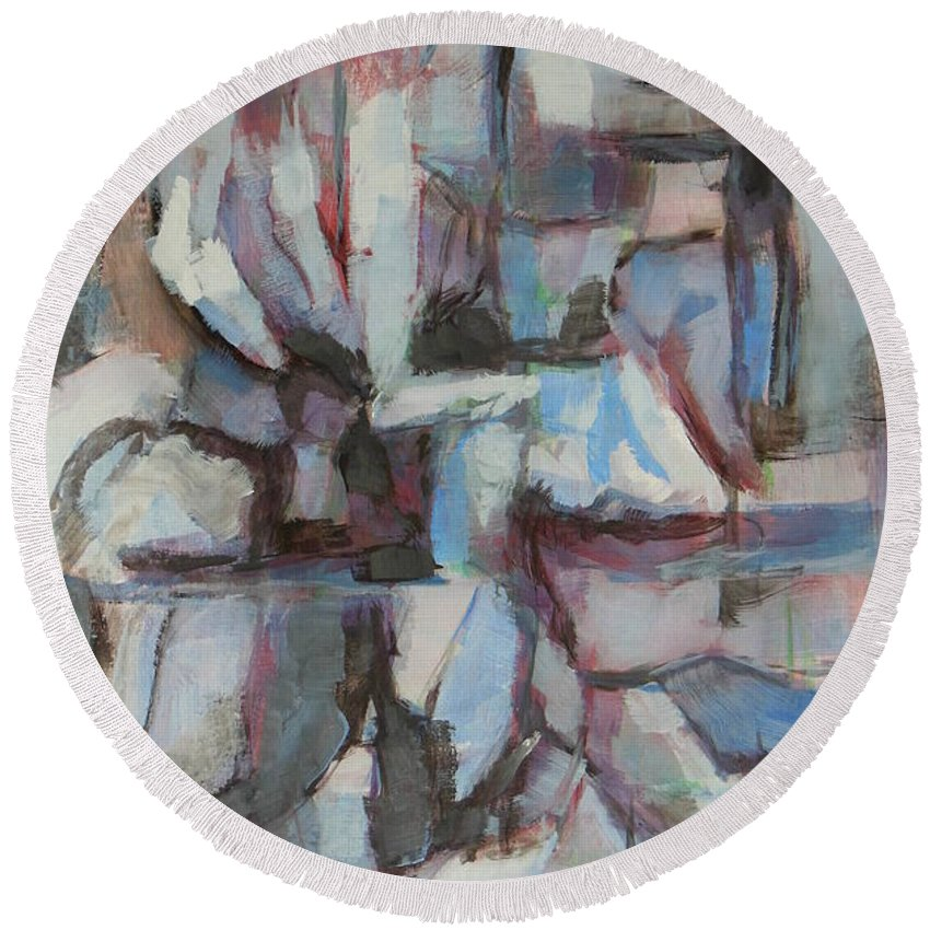Blue Round Beach Towel featuring the painting Composition In Blue 1 by Alfons Niex