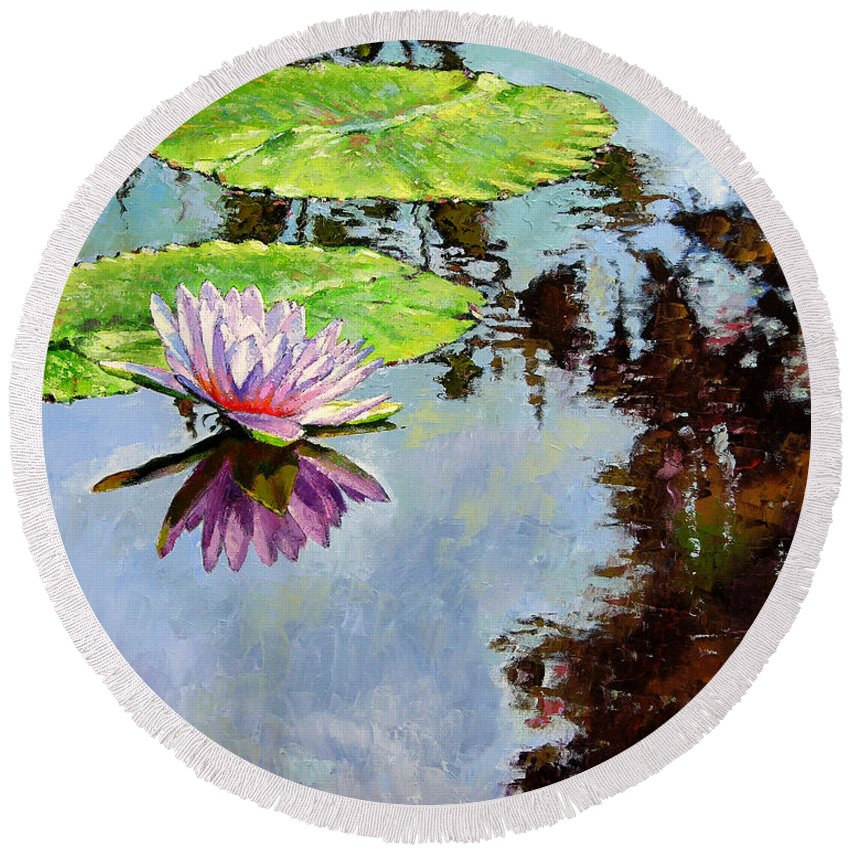 Water Lily Round Beach Towel featuring the painting Composition Of Beauty by John Lautermilch