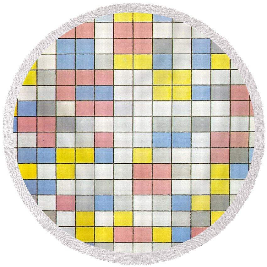 Composition With Grid Ix Round Beach Towel featuring the painting Composition With Grid Ix by Piet Mondrian