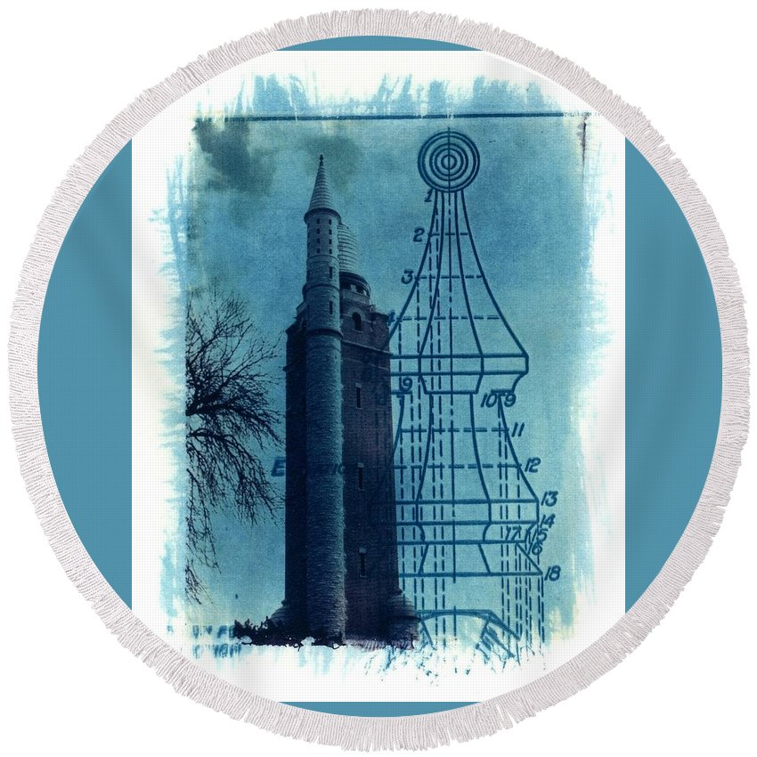 Alternative Process Photography Round Beach Towel featuring the photograph Compton Blueprint by Jane Linders