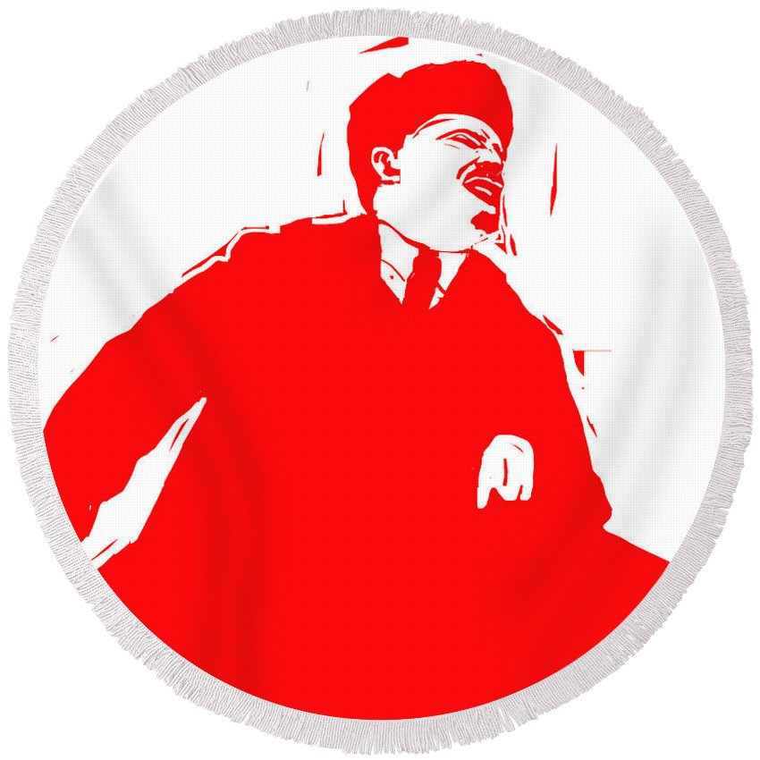 Revolution Round Beach Towel featuring the digital art Comrade L by Rob Prince