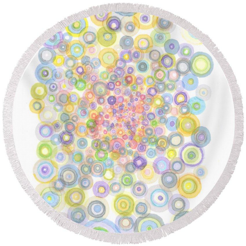 Circles Round Beach Towel featuring the painting Concavity by Regina Valluzzi
