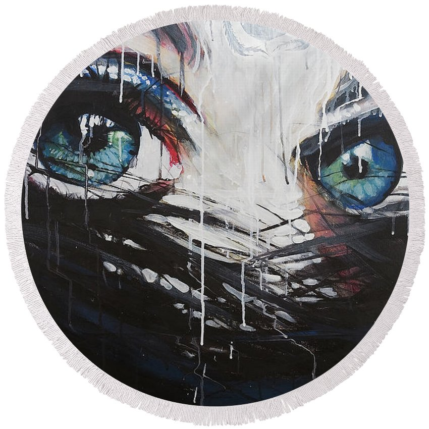 Dark Round Beach Towel featuring the painting Concealer by Jeffrey Jacoby