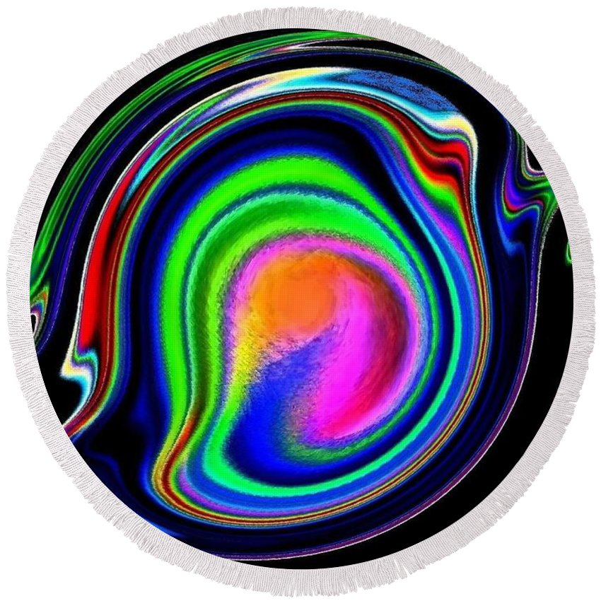 Abstract Round Beach Towel featuring the digital art Conceptual 11 by Will Borden