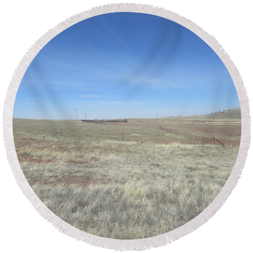 Concho Round Beach Towel featuring the photograph Concho Corral by Frederick Holiday