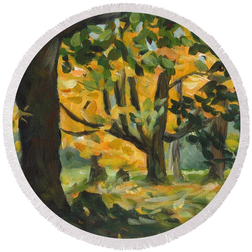 Painting Round Beach Towel featuring the painting Concord Fall Trees by Claire Gagnon