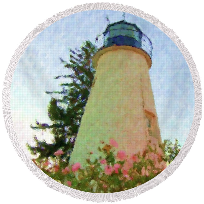 Lighthouse Round Beach Towel featuring the photograph Concord Point Lighthouse by Debbi Granruth