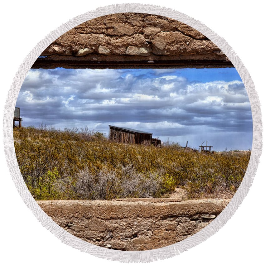 Lake Valley Round Beach Towel featuring the photograph Concrete Window by Diana Powell