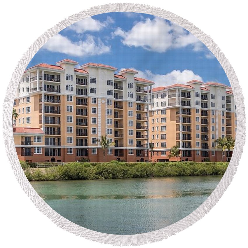 Florida Round Beach Towel featuring the photograph Condo Living by Joseph Toth