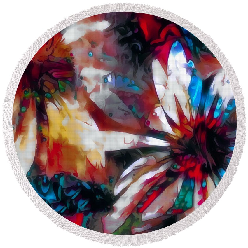 Flowers Round Beach Towel featuring the photograph Cone Flower Fantasia I by Jack Torcello