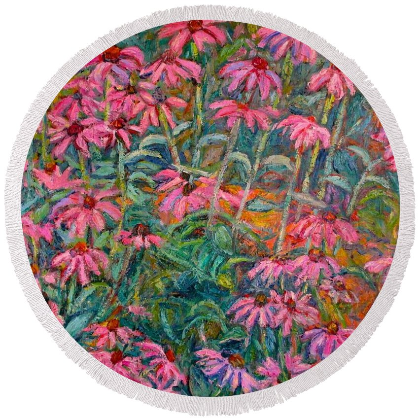 Kendall Kessler Round Beach Towel featuring the painting Coneflowers by Kendall Kessler