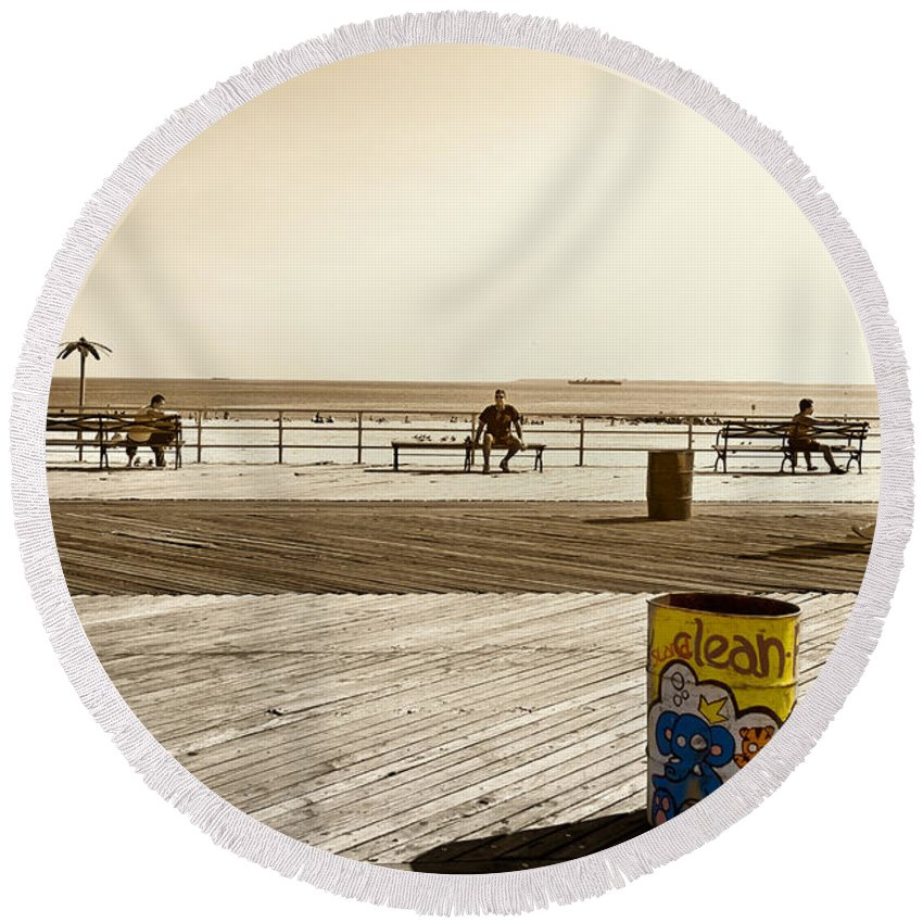 Coney Island Round Beach Towel featuring the photograph Coney Island Boardwalk by Madeline Ellis