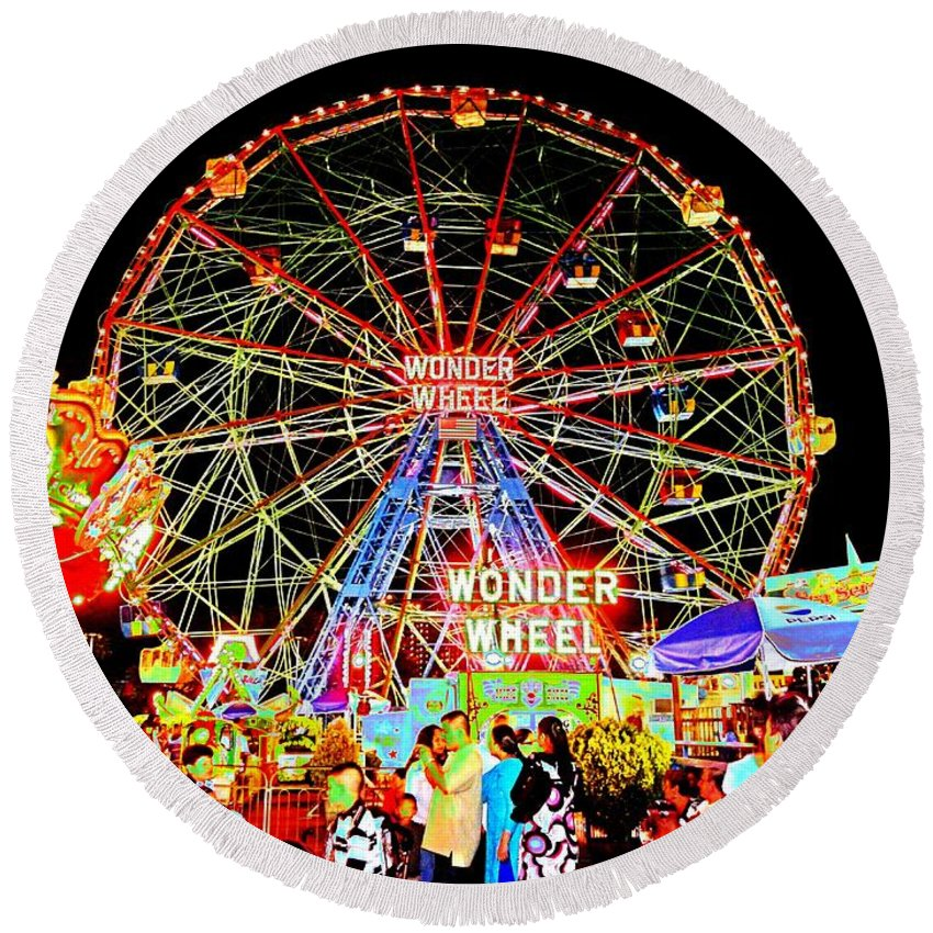 Beach Round Beach Towel featuring the photograph Coney Island Magic In Neon by Kendall Eutemey