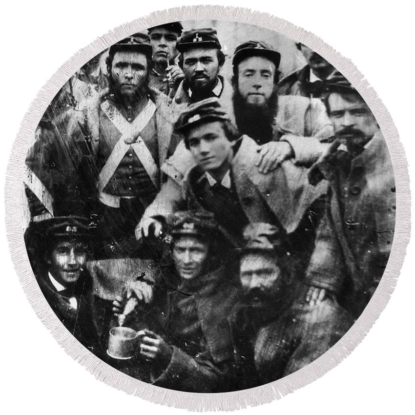 1861 Round Beach Towel featuring the photograph Confederate Soldiers, 1861 by Granger