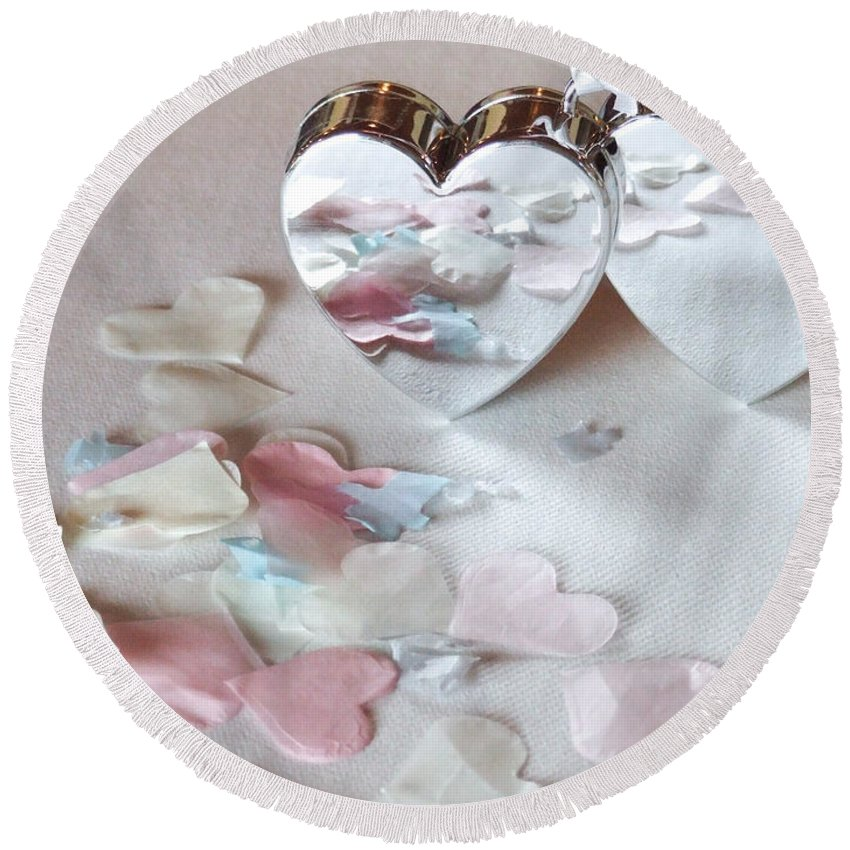Hearts Round Beach Towel featuring the photograph Confetti Hearts by Helen Northcott