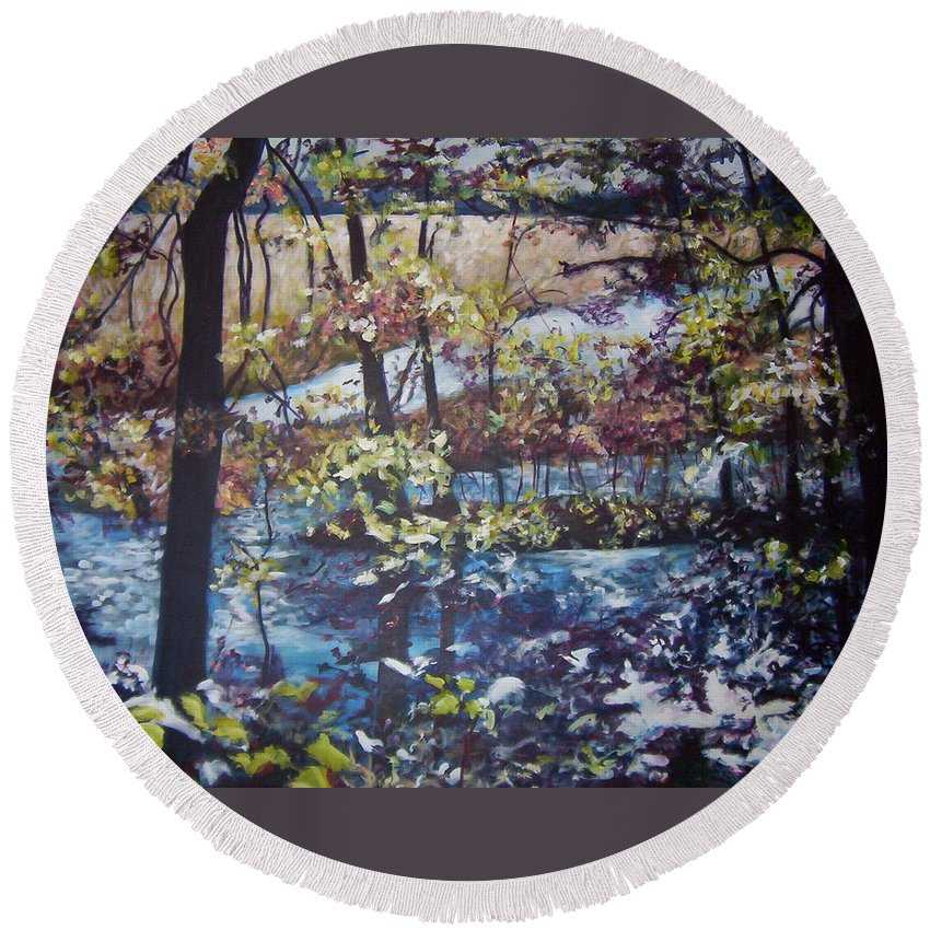 Landscape Round Beach Towel featuring the painting Confetti by Sheila Holland