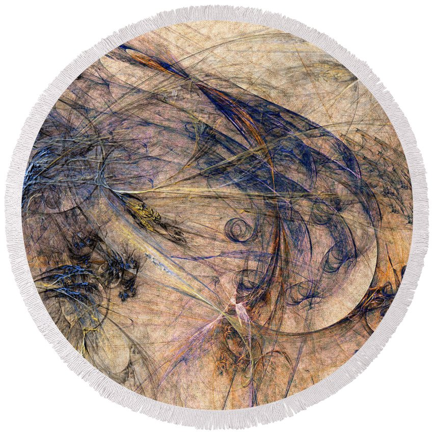 Abstract Round Beach Towel featuring the digital art Conflicted by Casey Kotas