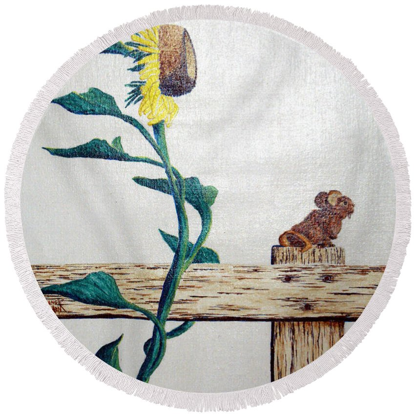 Still Life Round Beach Towel featuring the painting Confluence by A Robert Malcom