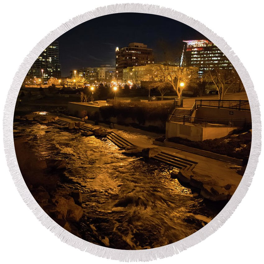 City Round Beach Towel featuring the photograph Confluence Park Rapids At Night by Cary Leppert