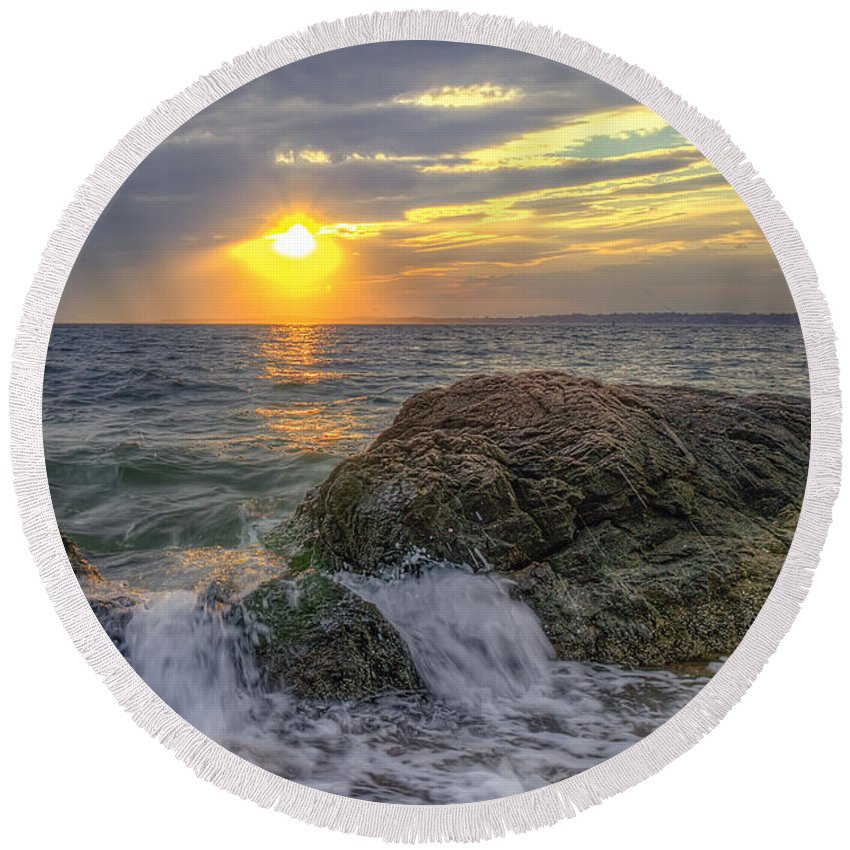 Hdr Round Beach Towel featuring the photograph Connecticut Sunset by Scott Wood