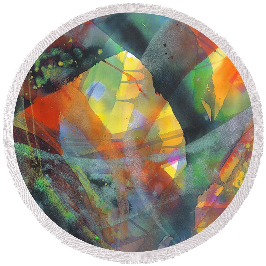 Abstract Round Beach Towel featuring the painting Connections by Lucy Arnold