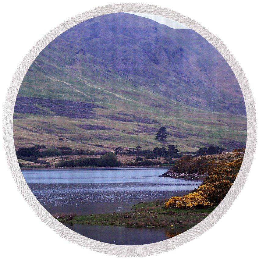 Landscape Round Beach Towel featuring the photograph Connemara Leenane Ireland by Teresa Mucha