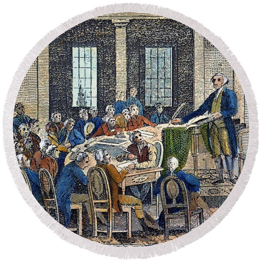 1787 Round Beach Towel featuring the photograph Constitutional Convention by Granger