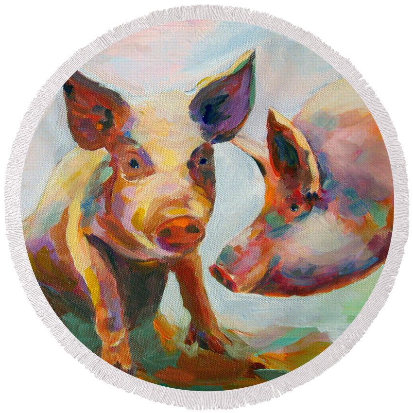 Pigs Round Beach Towel featuring the painting Consultation by Naomi Gerrard