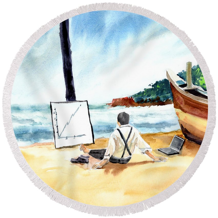 Landscape Round Beach Towel featuring the painting Contemplation by Anil Nene