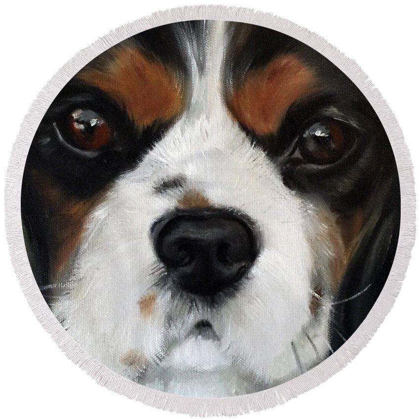 King Charles Spaniel Round Beach Towel featuring the painting Contemplation by Mary Sparrow
