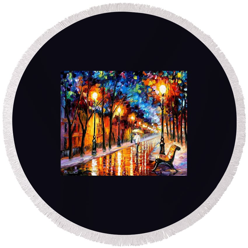Afremov Round Beach Towel featuring the painting Contemplation by Leonid Afremov