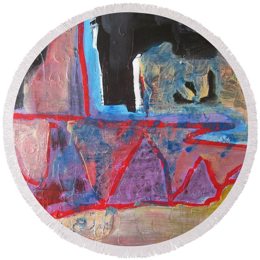 Abstract Paintings Round Beach Towel featuring the painting Contradiction Of Time by Seon-Jeong Kim