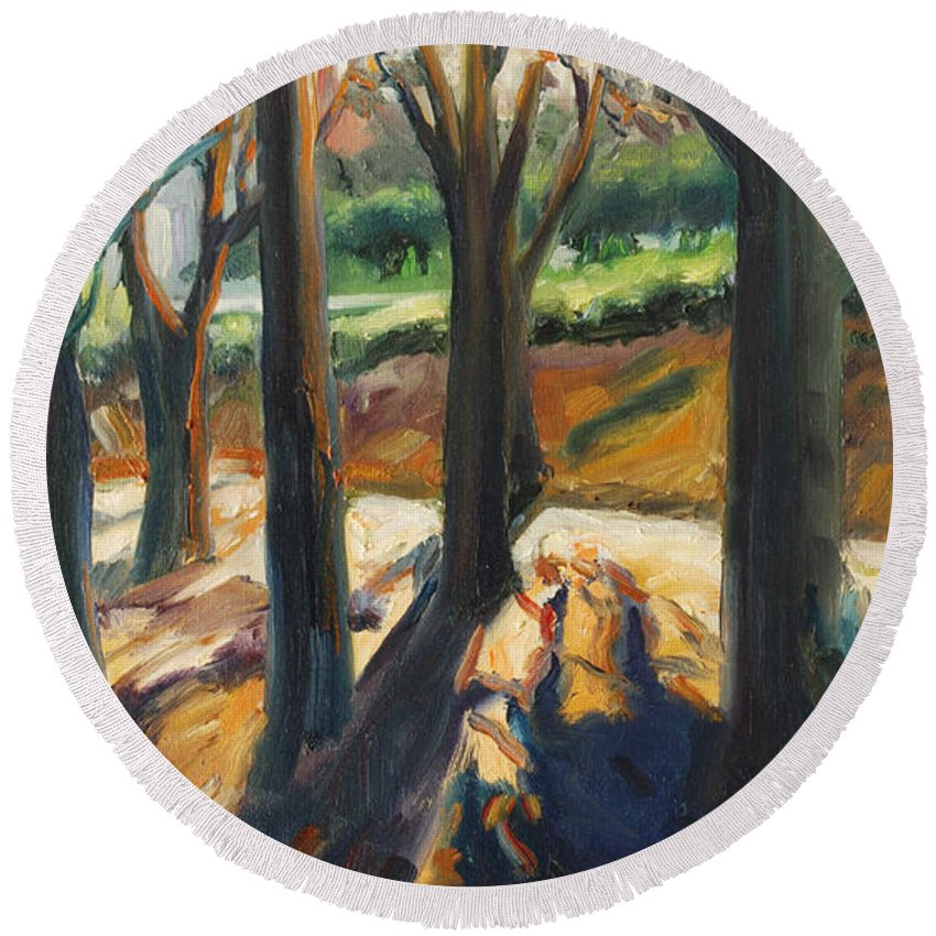 Trees Round Beach Towel featuring the painting Contrast by Rick Nederlof