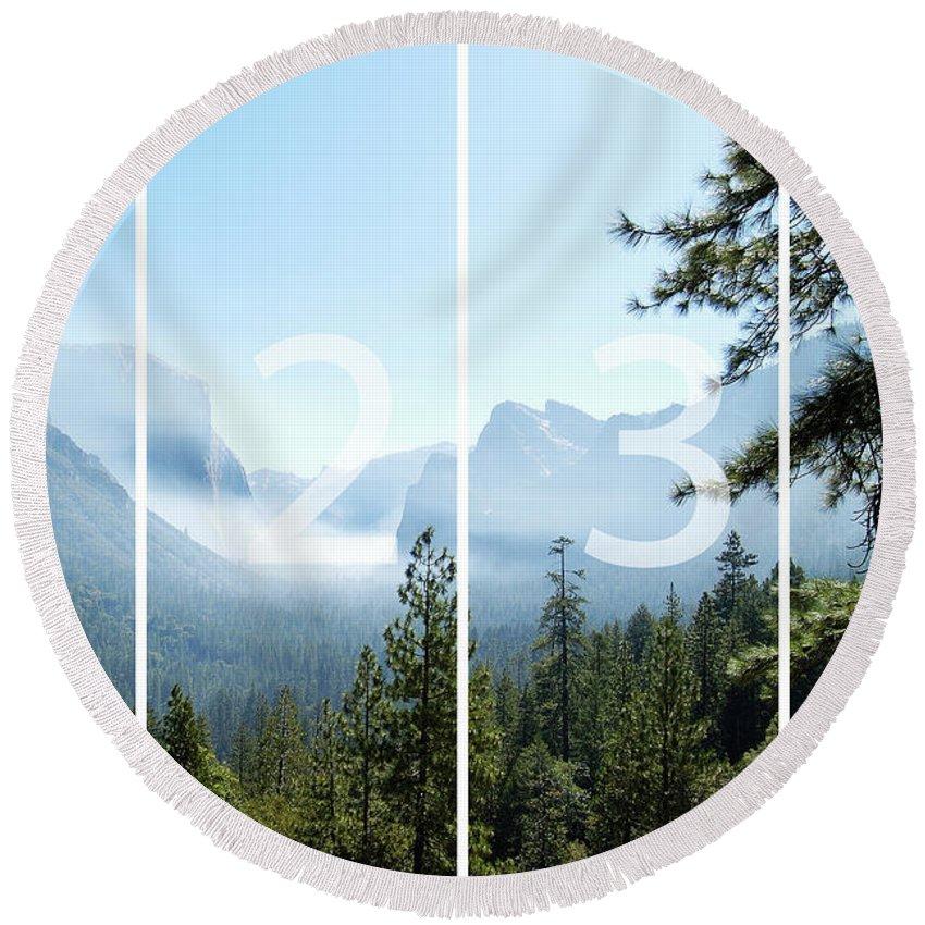 El Capitan Round Beach Towel featuring the digital art Controlled Burn of Yosemite panoramic map by Michael Bessler