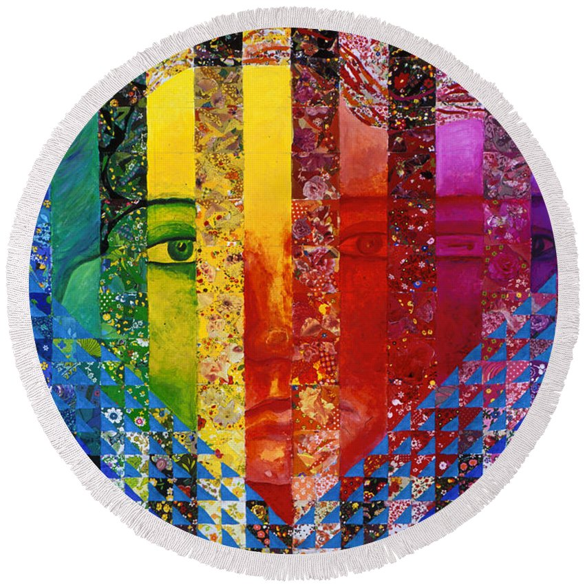 Colorful Round Beach Towel featuring the mixed media Conundrum I - Rainbow Woman by Diane Clancy