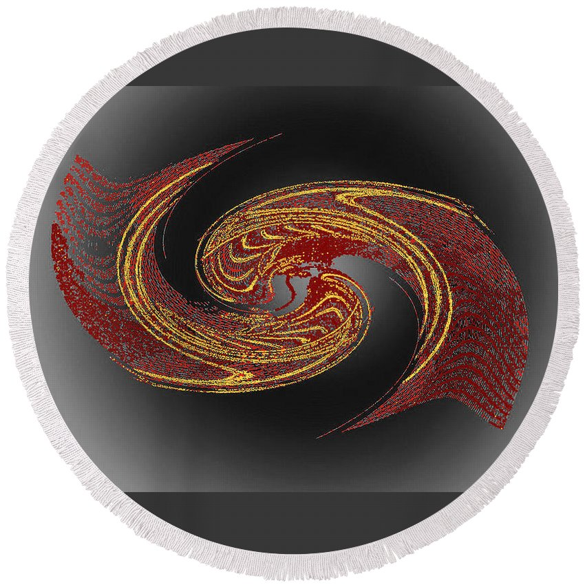 Red Round Beach Towel featuring the digital art Convergence In Red And Gold by Don Quackenbush