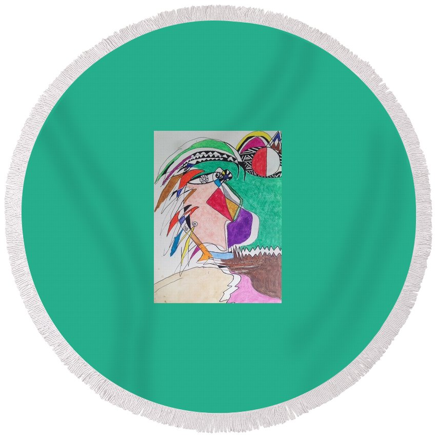 Ink Round Beach Towel featuring the mixed media Conversation by Timothy Leonard