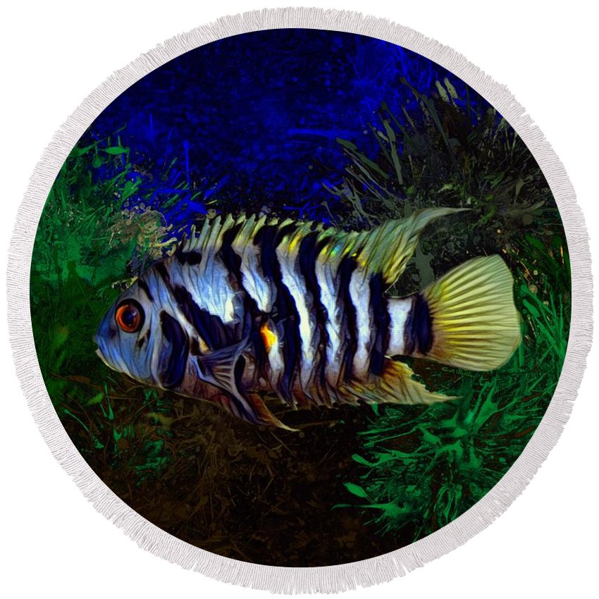 Convict Round Beach Towel featuring the digital art Convict Cichlid Fish by Scott Wallace Digital Designs
