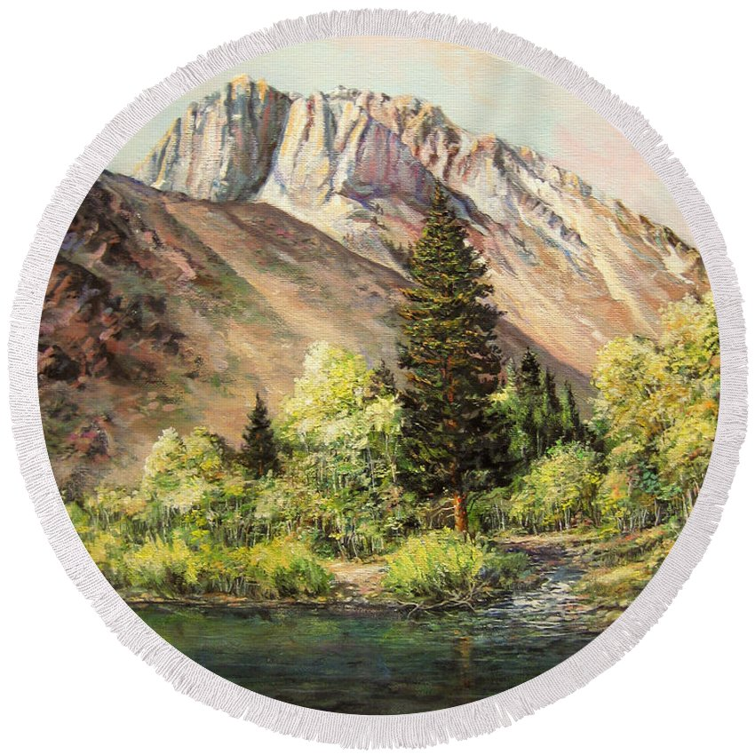 Nature Round Beach Towel featuring the painting Convict Lake In May by Donna Tucker